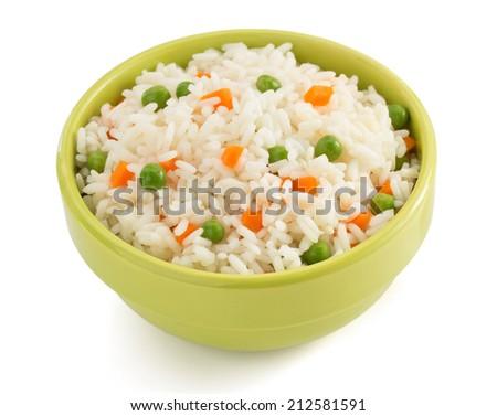 bowl full of rice isolated on white background - stock photo