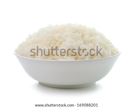bowl full of rice on white - stock photo