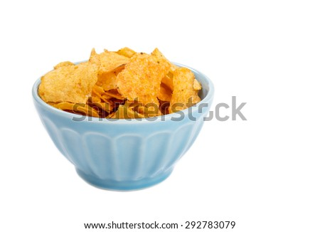 Bowl of Barbecue Flavored Potato Chips Isolated on White - stock photo