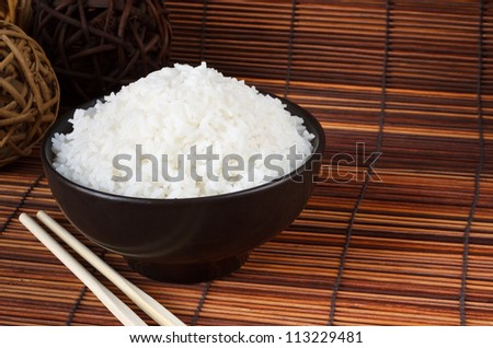 Bowl of boiled rice a popular accompaniment with oriental food - stock photo