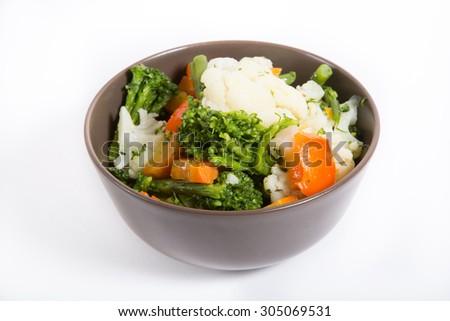Bowl of boiled vegetables - stock photo