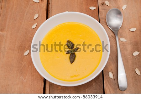Bowl of Butternut Squash Soup and Spoon on Old Wooden Table - stock photo