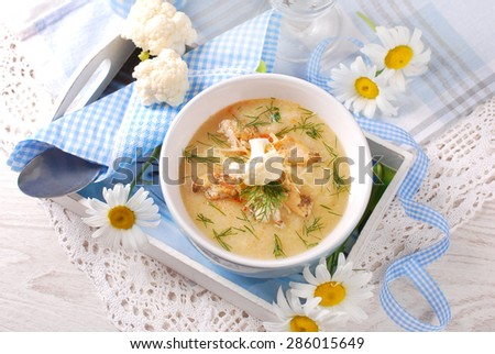 bowl of cauliflower cream soup with grilled chicken,parmesan cheese and dill in wooden tray - stock photo
