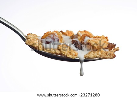 bowl of cereal with raisins and milk isolated - stock photo