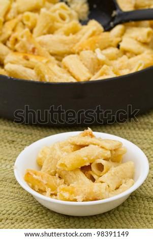 Bowl of 4 cheese rigatoni - stock photo