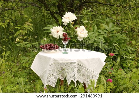 bowl of cherries on a table in the garden