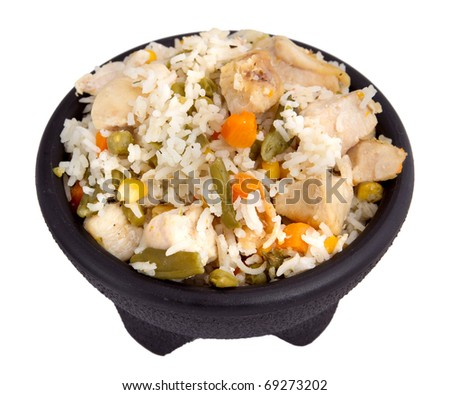 bowl of chicken and rice with mixed vegetables