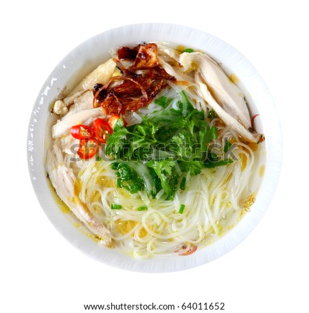Bowl of chicken noodle isolated on white background - stock photo