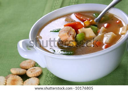 Bowl of Chicken Noodle Soup - stock photo