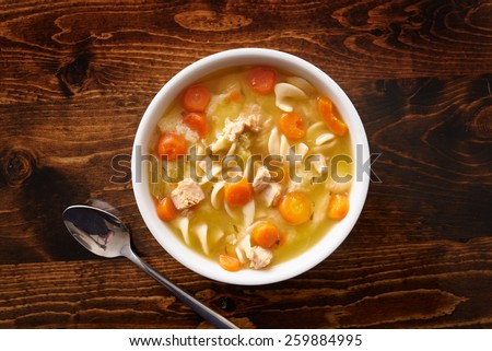 bowl of chicken noodle soup shot top down - stock photo