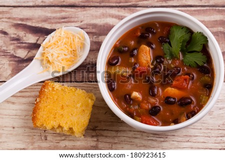 Bowl of Chicken Tortilla soup with Cornbread