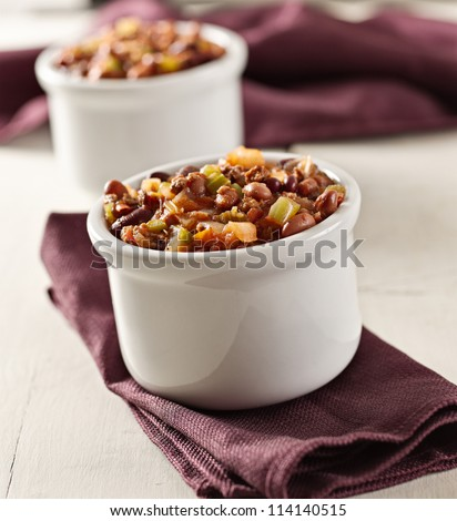 bowl of chili beef chili shot with selective focus. - stock photo