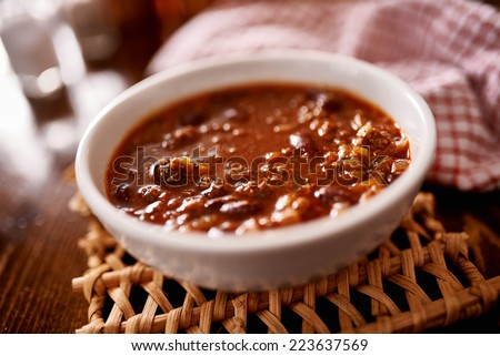 bowl of chili shot with selective focus - stock photo