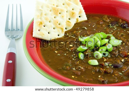 Bowl of Chili with Beef - stock photo