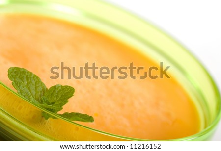 Bowl of Chilled Melon Soup made from Canteloupe, yogurt and orange juice