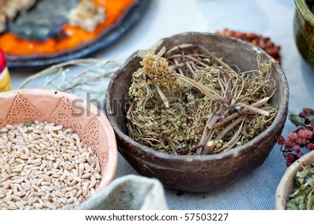 Bowl of Chinese herbal medicine - stock photo