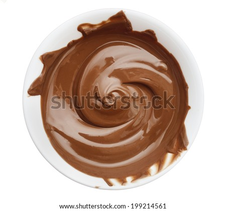 Bowl of chocolate cream isolated on white