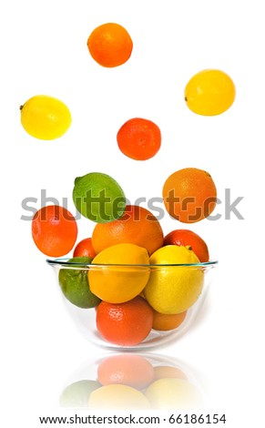 Bowl of citrus fruits on white background - stock photo