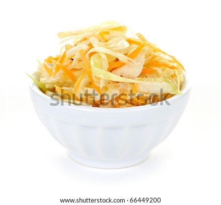 Bowl of coleslaw with shredded cabbage isolated on white background - stock photo