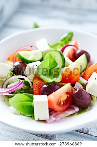 Bowl of colorful summer salad with feta and olives - stock photo