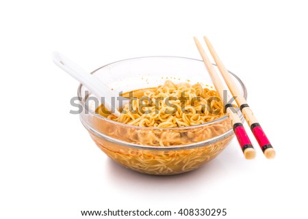 Bowl of convenient but unhealthy instant noodle with sodium flavored soup on white background