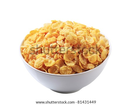 Bowl of corn flakes - stock photo