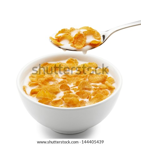 bowl of corn flakes isolated on white - stock photo