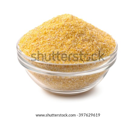 Bowl of corn grits isolated on white