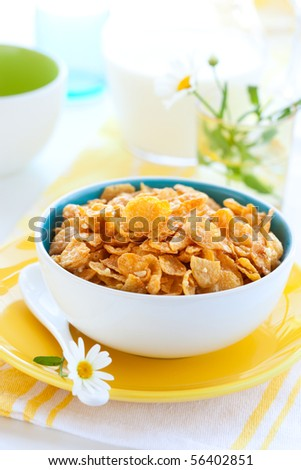 Bowl Of Cornflakes And Milk Stock Photos, R...