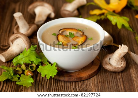 Bowl of cream of mushroom soup with fried mushrooms - stock photo