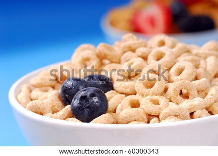 Bowl of crispy oat cereal with fresh blueberries and other fresh fruits - stock photo