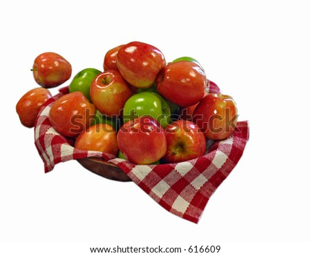 Bowl of Delicious & Granny Smith Apples isolated - stock photo