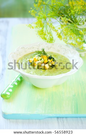 bowl of delicious zucchini soup