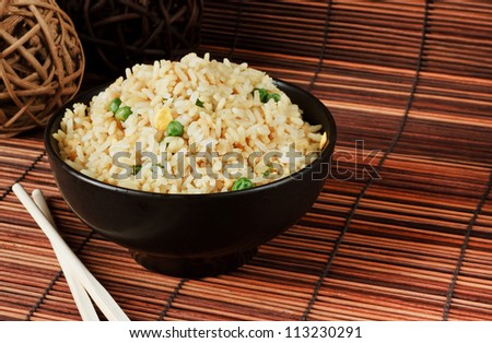 Bowl of egg fried rice an excellent side order with chinese food - stock photo