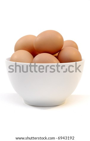 Bowl Of Farm Fresh Free Range Eggs In A White Bowl - stock photo