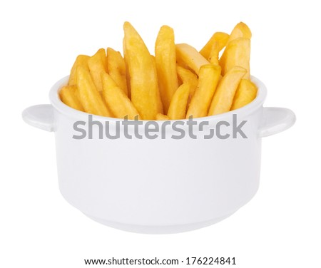 bowl of french fries isolated on a white background