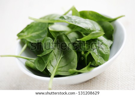 bowl of fresh baby spinach