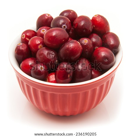 Bowl of fresh cranberries isolated on a white studio background. - stock photo