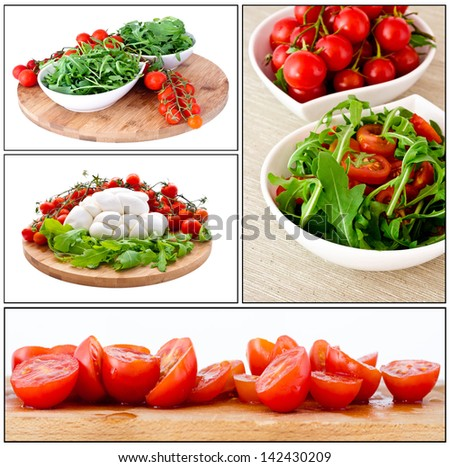 bowl of fresh green, natural arugula and cherry tomatoes in white cups - stock photo