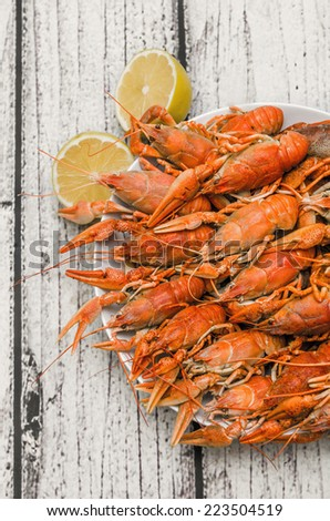 Bowl of fresh hot Boiled Crawfish plating - stock photo