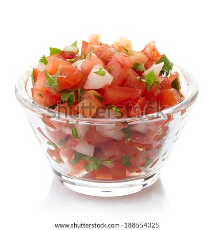 Bowl of fresh salsa dip isolated on white background - stock photo