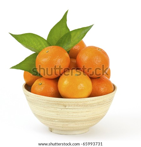 bowl of fresh tangerines - stock photo
