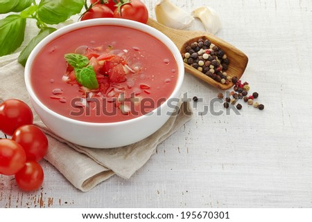 Bowl of Fresh tomato soup Gazpacho - stock photo