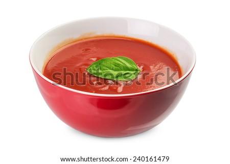 bowl of  fresh tomato  soup isolated on white - stock photo