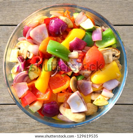 bowl of freshly cooked vegetables - stock photo