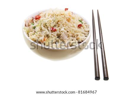 Bowl of Fried Rice on White Background - stock photo