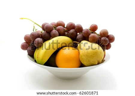 Bowl of fruit on a white background