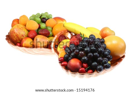 Bowl of fruits on a white background.