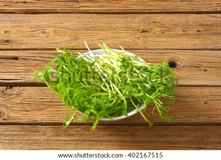 bowl of green pea sprouts on wooden background