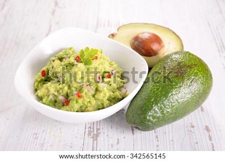 bowl of guacamole  - stock photo